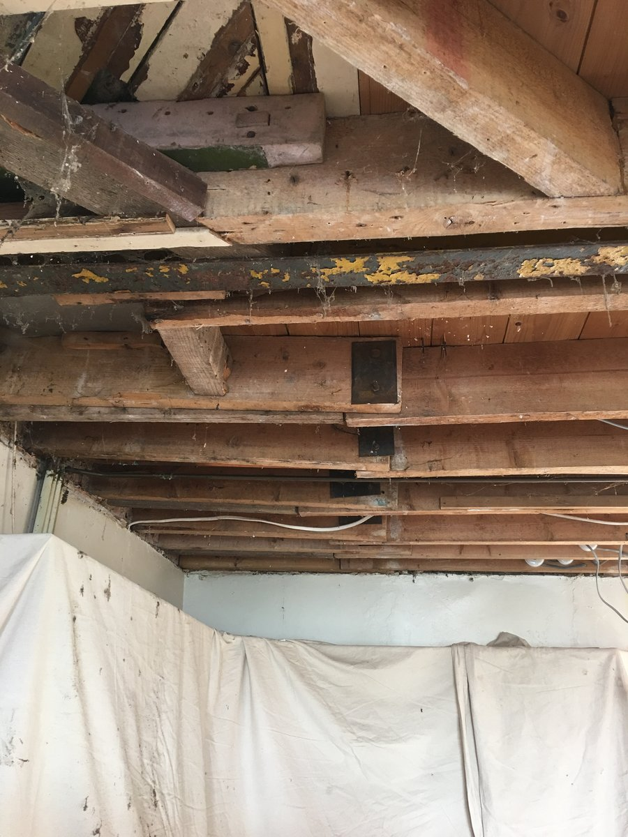 Image of floor joist repair plasterboard skim