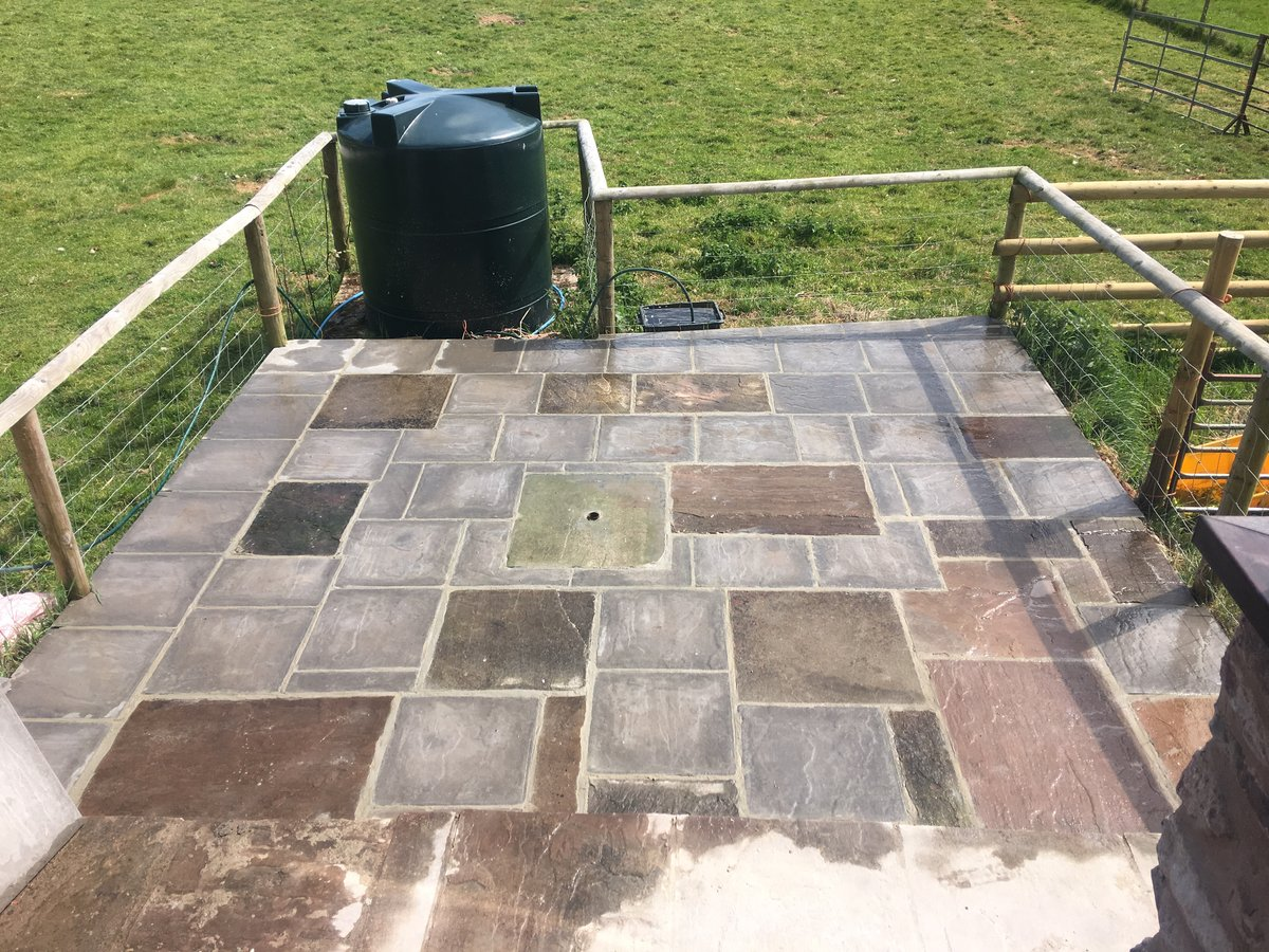 image showing patio using mixed new old slabs trellech grange